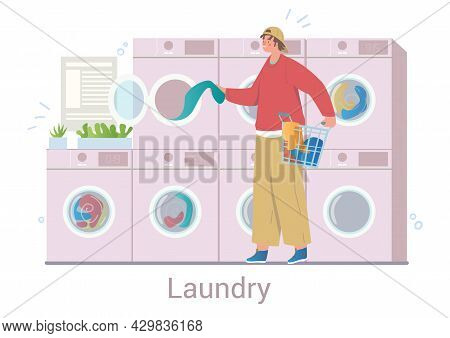 Young Cheerful Male Character Is Washing His Clothes In Laundry On White Background. Concept Of Care