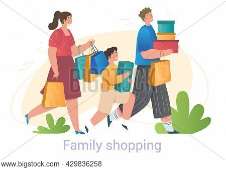 Happy Cute Family Is Shopping Together With Bags On White Background. Concept Of People Enjoy Spendi