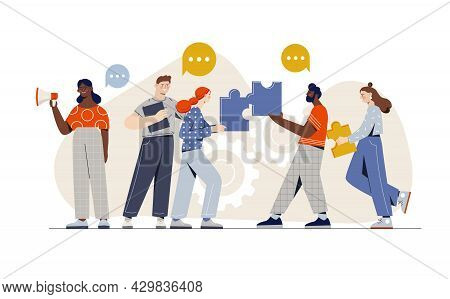 Male And Female Hr Emplyees Are Working Together As A Team On White Background. Concept Of Labor Ass