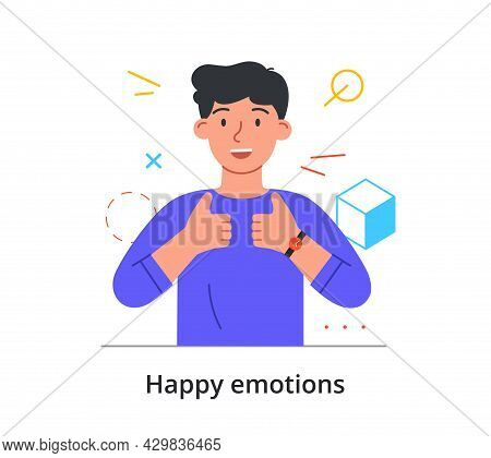 Smiling Male Character Is Showing Thumbs Up With Two Hands On White Background. Concept Of People Ex
