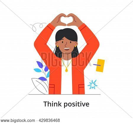 Happy Female Character In Love Is Sjowing Heart With Two Hands On White Background. Concept Of Peopl