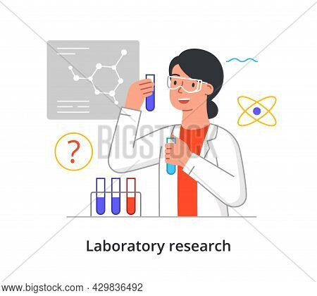 Young Female Scientist Is Conducting Medical Laboratory Research On White Background. Concept Of Sci