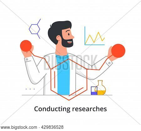 Smiling Male Scientist Is Working On Medical Research In Laboratory On White Background. Concept Of