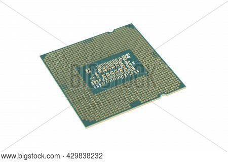 Side View Computer Processor Isolated On White Background. Cpu. Central Processor Unit. Computer Har