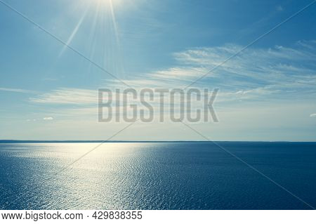 Aerial View Sky Background. Aerial Blue Sky With Clouds Over The Sea. Sky Landscape Over Ocean With