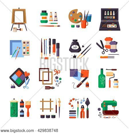 Art Tools And Materials Icon Set For Painting Patchworking Sewing Equipment Vector Illustration