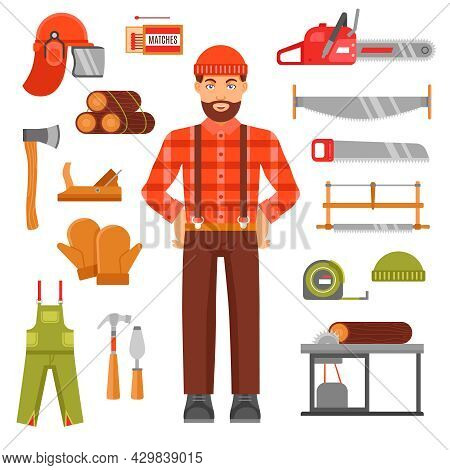 Lumberjack Decorative Flat Icons Set With Avatar Of Woodcutter Timber Saws Matches Casque Overall Is