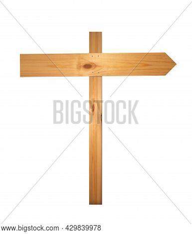 Wooden Signpost On White Background. Arrow Road Sign, Empty, Wood Texture