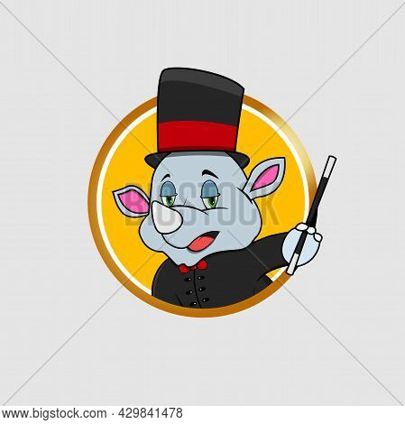 Rhinoceros Head Circle Label Bring Stick And Magician Custom, Yellow Colors Background, Mascot, Icon