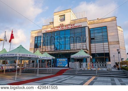 Darussafaka, Istanbul, Turkey - 07.14.2021: Wide Angle View Of Building Of Yasar Kemal Cultural Cent