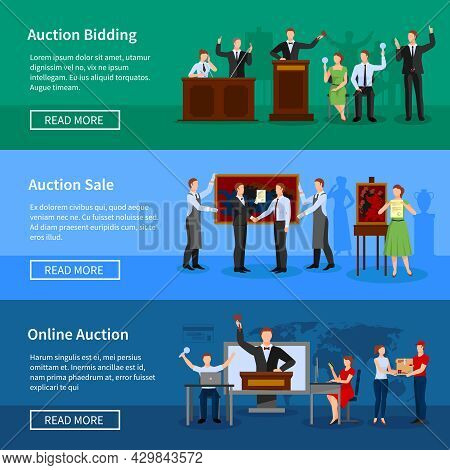 Upcoming Online Auctions Bidding And Sale Information 3 Flat Horizontal Banners Webpage Design Abstr