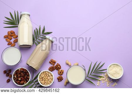 Different Organic Vegan Milks And Ingredients On Violet Background, Flat Lay. Space For Text