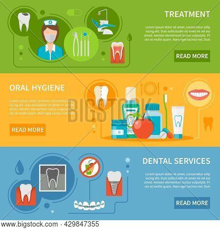 Dental Care Concept. Dental Care Horizontal Banners. Dental Care Vector Illustration. Dental Care Se