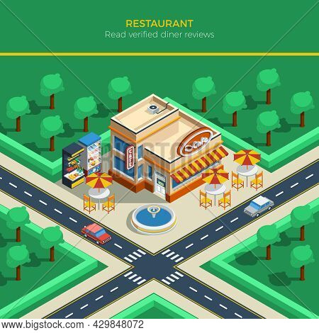 Top View On Isometric City Landscape With Crossroad Restaurant Building Fountain And Tables Under Um