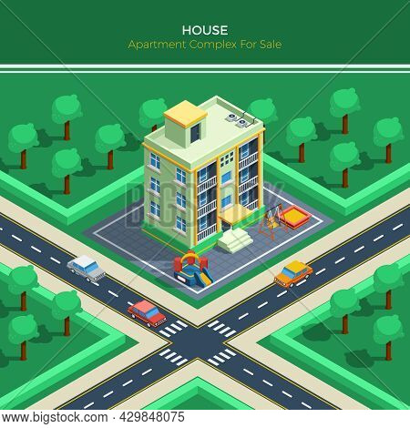 Top View On Isometric City Landscape With Apartment House Children Playground Crossroad And Green Pa