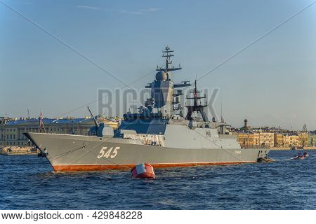 Saint Petersburg, Russia - July 26, 2021: Russian Corvette With Guided Missile Weapons