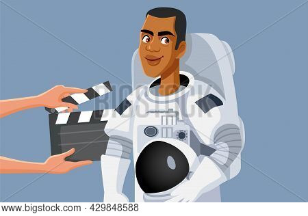 Male Actor Wearing Astronaut Suit Filming A Sci Fi Movie