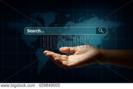 Man Hand Holding Search Box And Loupe With Technology Background. Search Browser Internet Data Infor
