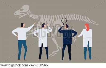 Archeology Researcher Historian Looking Into Dinosaur Bone Team Learning Paleontologist