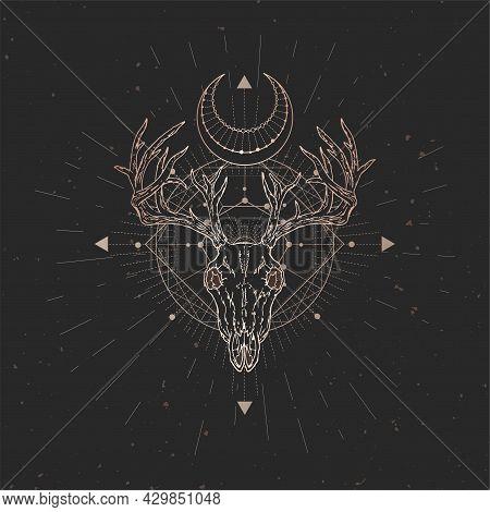 Vector Illustration With Hand Drawn Deer Skull And Sacred Geometric Symbol On Black Vintage Backgrou