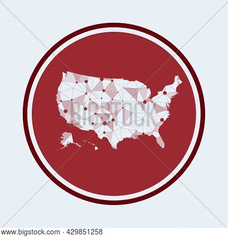 Usa Icon. Trendy Tech Logo Of The Country. Geometric Mesh Round Design. Technology, Internet, Networ
