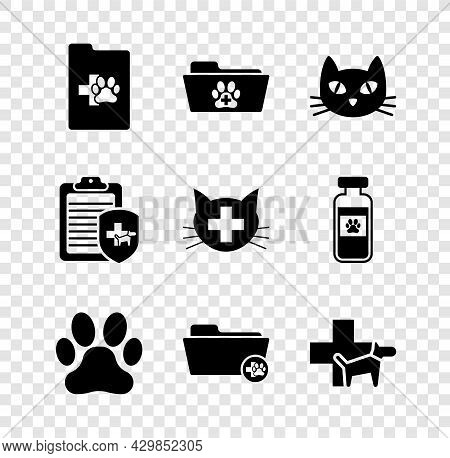 Set Clinical Record Pet, Medical Veterinary Folder, Cat, Paw Print, And Veterinary Clinic Icon. Vect
