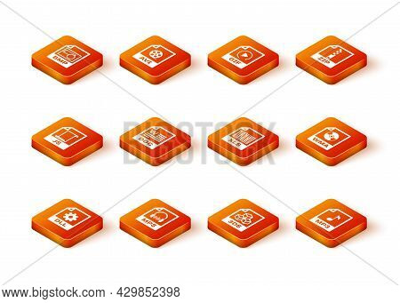 Set Dll File Document, Mp3, Js, Doc, 3ds And Xls Icon. Vector