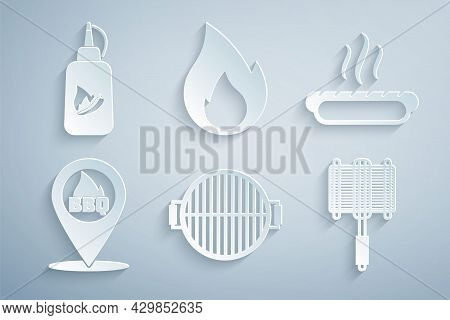Set Barbecue Grill, Hotdog Sandwich, Location With Barbecue, Steel Grid, Fire Flame And Ketchup Bott