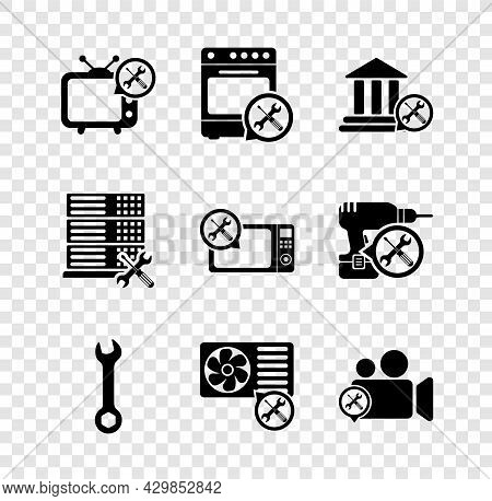 Set Tv Service, Oven, Bank Building, Wrench, Air Conditioner, Video Camera, Database Server And Micr
