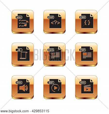 Set M3u File Document, Wma, Gif, Doc, Js, Css, Mov And Php Icon. Vector