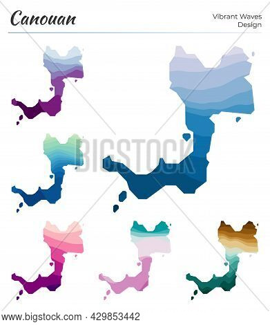 Set Of Vector Maps Of Canouan. Vibrant Waves Design. Bright Map Of Island In Geometric Smooth Curves