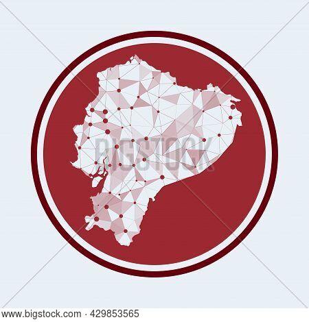 Ecuador Icon. Trendy Tech Logo Of The Country. Geometric Mesh Round Design. Technology, Internet, Ne