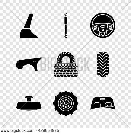 Set Car Handbrake, Shock Absorber, Steering Wheel, Mirror, Windscreen, Fender And Tire Icon. Vector