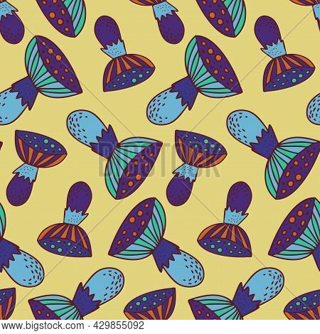 Vector Seamless Colorful Pattern With Lined Mushrooms Or Fungi In Blue Tones On Yellow