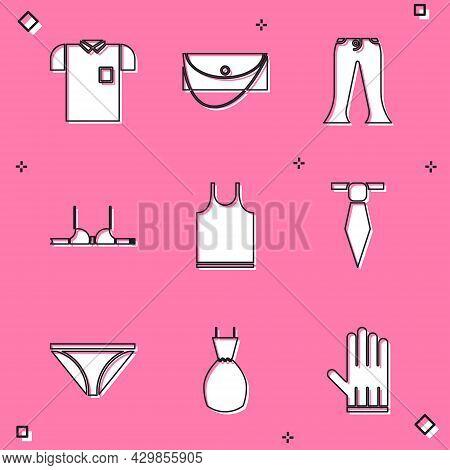 Set Polo Shirt, Clutch Bag, Pants, Bra, Sleeveless T-shirt, Tie, Men Underpants And Woman Dress Icon