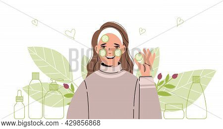 Woman Takes Care Of Her Face. A Collection Of Body And Skin Care Products. Vector