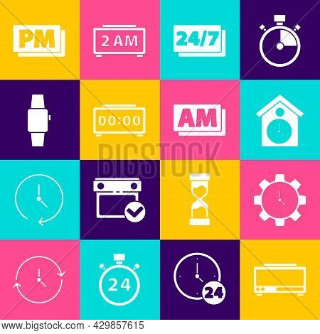 Set Digital Alarm Clock, Time Management, Retro Wall Watch, Clock 24 Hours, Smartwatch, Pm And Am Ic