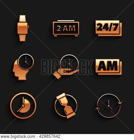 Set Clock, Old Hourglass, Am, Time Management, 24 Hours And Smartwatch Icon. Vector