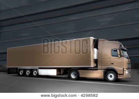 Semi Truck In The Night