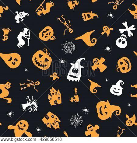 Seamless Vector Pattern For Halloween Design. Halloween Symbols: Ghost, Skeleton, Pumpkin In Cartoon
