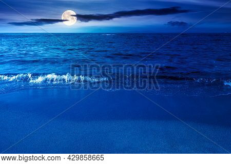 Calm Morning Scenery At The Sea. Empty Sandy Beach In Full Moon Light. Relax And Summer Vacation Con