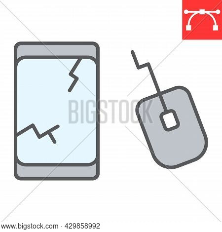 E-waste Color Line Icon, Recycle And Mouse, Electronic Waste Vector Icon, Vector Graphics, Editable