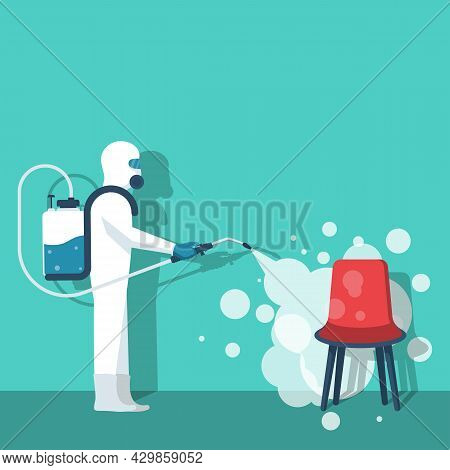 Disinfection Chair. Disinfect Home. Prevention Controlling Of Coronavirus Covid-2019. Worker In Hazm