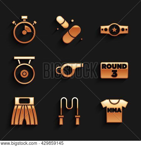 Set Whistle, Jump Rope, T-shirt With Fight Club Mma, Boxing Ring Board, Short, Gong, Belt And Stopwa