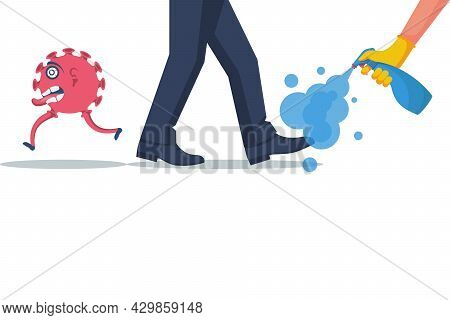 Disinfection Of Shoes. Prevention Of Covid 2019. Cleaning Disinfecting Coronavirus. Vector Illustrat