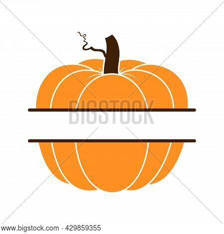Vector Illustration Of Pumpkin Or Cucurbita Monogram Isolated On White Background. Pumpkin Monogram