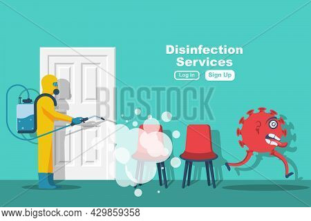 Disinfection Of Office Room. Prevention Of Covid 2019. Specialist In Hazmat Suit Cleaning Disinfecti