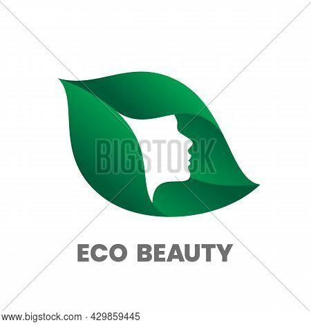 Eco Beauty. Hair Salon Or Beauty Salon Logo Design Template. Woman Silhouette On Green Leaf. Stock V