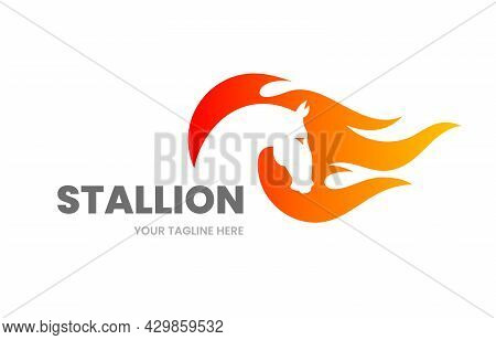 Stallion Logo Template. Abstract Horse Silhouette With Fire Flame. Stock Vector Illustration.