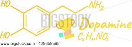 Human Hormone Dopamine Concept Chemical Skeletal Formula Icon Label, Text Font Vector Illustration,